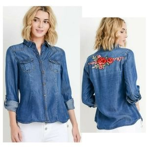TENCEL BUTTON UP EMBROIDERED DENIM TOP
